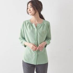 シャツ ブラウス レディース ベルメゾン 襟ぐりタックデザインブラウス【日本製】 「ライトグリーン」