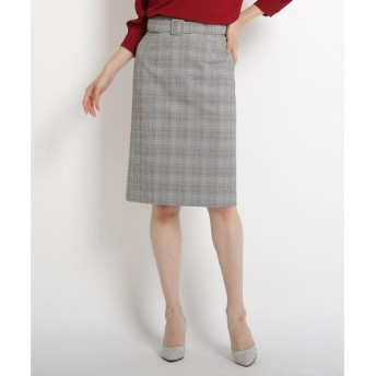 COUP DE CHANCE / クードシャンス 【洗える】グレンチェックベルト付きスカート