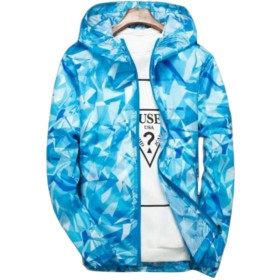 BeiBang(バイバン) メンズ UVカット アウター 薄手 ブルゾン 夏服 日焼け対策 冷房対策 ジャンパー 大きいサイズ アウトドア 超軽量 ウインドブレーカー 男女兼用 お揃い(20空ブルー)