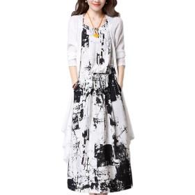 YACUN カジュアルな3/4の花の2個の一式のドレスシャツの女性 Black 5XL