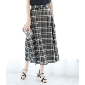 ロペピクニック/【WEB限定】綿麻チェックロングスカート/ブラック/38