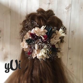 プラチナかすみ草とシダローズの髪飾り 結婚式や卒業式に☆