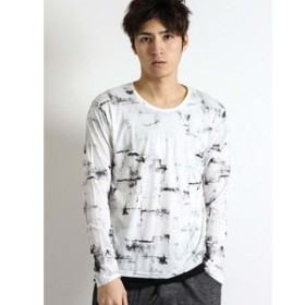 【semantic design:トップス】グランジ総柄クルーネック長袖Tシャツ