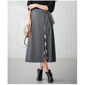 組曲 【セットアイテム】レイヤードシャギーチェックプリント スカート その他 スカート,グレー系