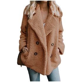 VITryst 女性ロングスリーブポケットは、ルベルベルベットラペルボタンアウトコートコート Camel 2XL