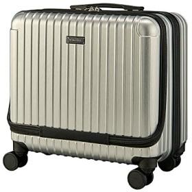 スーツケース 機内持ち込み 横型 フロントポケット タイヤロック付き HINOMOTO ダブルキャスター キャリーケース 35L TSAロック (ヘアーラインシルバー)