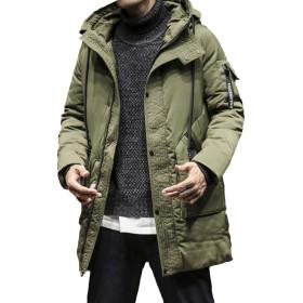 YFFUSHI メンズ 中綿ジャケット コート 綿 ロング丈 フード付き S-2XL 無地 厚手 黒 緑 防寒 綿入れ カジュアル きれいめ