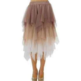 Li Song スカート♪ふんわりAライン透けチュールロングスカート チュールスカート ロングスカート チュールスカート チュチュ 大人用 ベージュ XS
