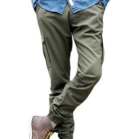 (ネルロッソ) NERLosso ジョガーパンツ メンズ スウェット カーゴパンツ イージーパンツ スリム クロップド 足首 絞り アンクル 正規品 XLサイズ アーミーグリーン cmg24424-XL-agr