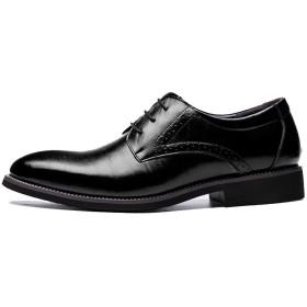 HIMAWARI ビジネスシューズ メンズ 革靴 ウォーキングシューズ 靴 カジュアル レースアップ ストレートチップ オールシーズン 軽量 透湿 防滑(ブラック,41)