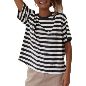 maweisong Women Stripe Short Sleeve Embroidery T-Shirt Top Blouse Black S