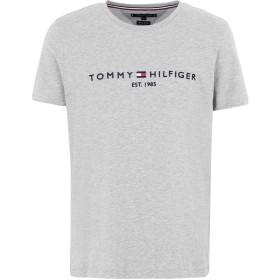 《セール開催中》TOMMY HILFIGER メンズ T シャツ グレー S オーガニックコットン 100% CORE TOMMY LOGO TEE