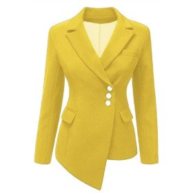 maweisong Women's Asymmetric Office Jacket Suit Casual Work Blazer Yellow S
