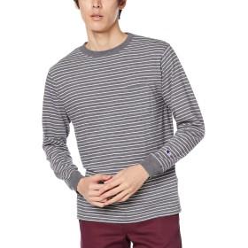 [チャンピオン] ボーダーロングスリーブTシャツ C3-Q403 メンズ ヘザーチャコール 日本 L (日本サイズL相当)