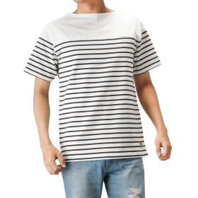 Navy(ネイビー) オーガニックコットン バスクボーダーTシャツ 半袖Tシャツ ボーダーTシャツ MH/03511SS-1 メンズ チャコール:S