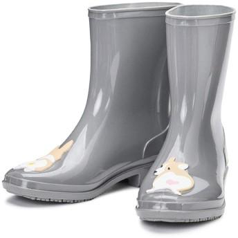 [実りの秋] レインブーツ レディース 犬/コーギー柄 ドット柄 ミドル丈 おしゃれ 梅雨対策 防水性 雨靴 カジュアル 滑り止め 歩きやすい 通気性 耐摩耗性 美脚 通勤 通学 雨の日 作業用 ガーデニング グレー 23.5CM