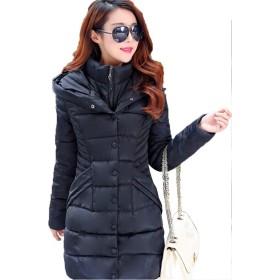 ダウンコート 中綿 ダウンジャケット レディース 大型スリムコート ミディアムロングコットンコート 大サイズの婦人服 (XL, 黒)