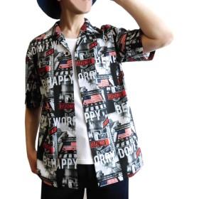 エボリューション(EVOLUTION) フォトプリント メンズ 半袖シャツ アメリカ国旗 コラージュ 写真 総柄 オープンシャツ (M)