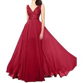 Nicellyer 女性帝国ウエストシフォンフィット特大のbodyconカクテルドレス Wine Red S