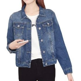 VITryst 女性のポケットスキニー穴プラスサイズルーズフィットジャンジャケットコート 1 2XL