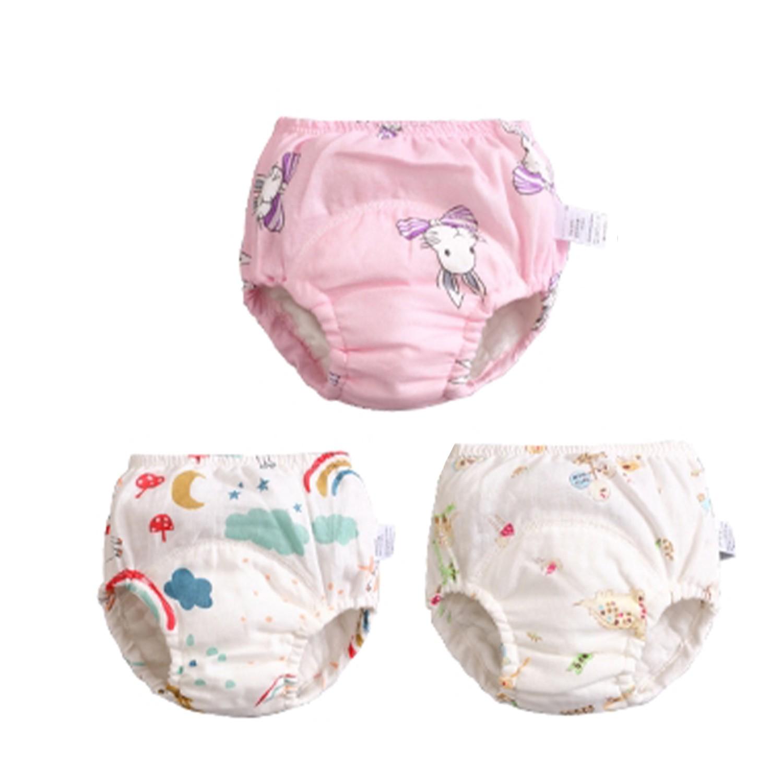 JoyNa - 輕薄透氣紗布學習褲-3件入-蝴蝶結兔+隨機2件