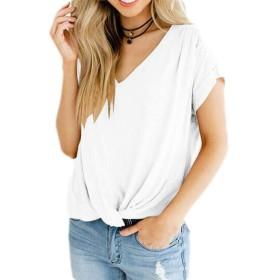 Valoda レディース半袖ルーズVネックノットフロントトップTシャツブラウス White US XL