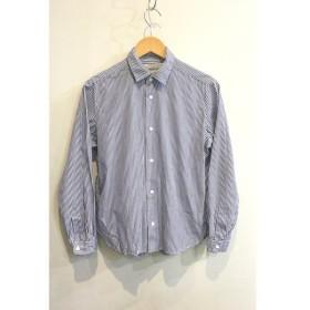 二子玉) ヤエカ YAECA 15157 コンフォートシャツ ストライプ スナップボタン 長袖 ブルー ホワイト レディース M ポケット付