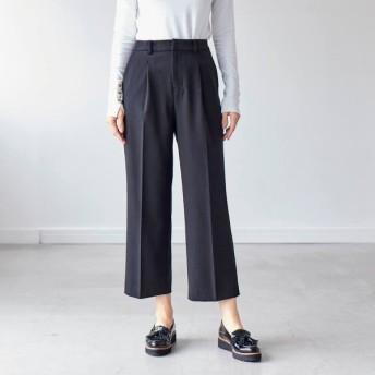 パンツ レディース クロップドパンツ ぺたんこ靴でもすっきりはける!エアリーアンクルワイドパンツ 「ブラック」