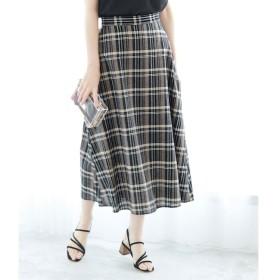 【ロペピクニック/ROPE' PICNIC】 【WEB限定】綿麻チェックロングスカート