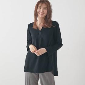 シャツ ブラウス レディース ベルメゾン 異素材使いキーネックチュニックブラウス 「ブラック」