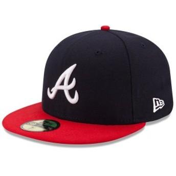 ニューエラ メンズ 帽子 アクセサリー Atlanta Braves New Era Home Authentic Collection On-Field 59FIFTY Fitted Hat Navy/Red