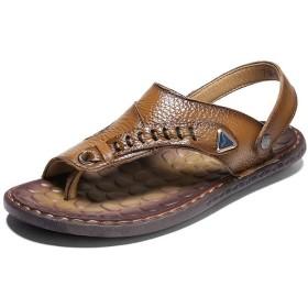 [eleitchtee] レザーサンダル 革靴 メンズ バックストラップ ヘップサンダル 2WAY (24cm カーキ)