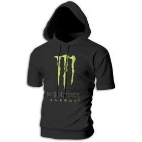 Monster Energy ロゴ 飲み料 メンズ ゆったり トップス スポーツ 半袖 スウェット パーカー ファッション おしゃれ 黒 ストリート カップル
