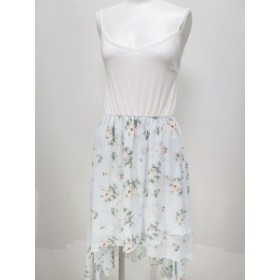 【中古】ダズリン dazzlin 膝丈 キャミ ワンピース フリル スカート 柄 花柄 白 青 ブルー ホワイト レディース