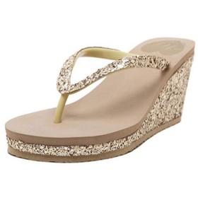 [ブウケ] ウェッジソール サンダル 履きやすい 靴 歩きやすい 24.0cm 疲れない レディース 厚底 可愛い おしゃれ オープントゥ ゴールド 厚底サンダル ギフト 二次会 披露宴 スリッパ ミュールサンダル レディース靴 ミュール
