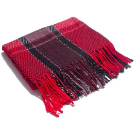 スカーフ チェック柄 カップル 秋冬 厚い ショール おしゃれスカーフ (色 : 赤)