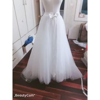 オーバードレス、色変更無料 ウエディングドレス用オーバースカート、お色直し 6層チュール 前スリット