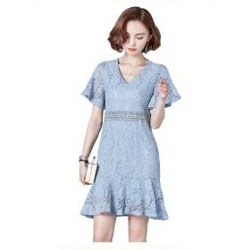 ZUOMA韓国気質半袖Vネックスリムは薄い中空レースのドレスは、スカートパッケージヒップフィッシュテールスカート夏フラウンス付きでした (2XL, ブルー)