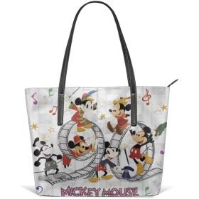 バッグ (トートバッグ) ディズニー90周年 ミッキーマウス 90th アニバーサリー レザー トートバッグ レディース 大容量 通勤 通学 A4 黒 軽量 カジュアル 縦型 旅行 防水