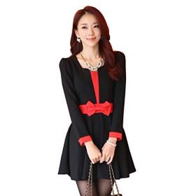美スタイル 長袖フレアワンピース 黒 赤 F LL 3L 4L 大きいサイズ (4L, 黒)