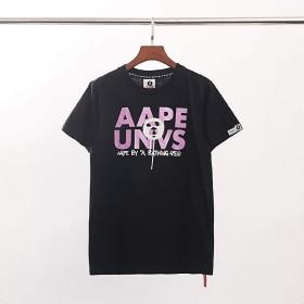 Aapeパープル 英字 図案 レジャー Tシャツ 半袖 男女兼用 (ブラック, M)