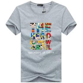 [ SmaidsxSmile(スマイズ スマイル) ] Tシャツ 半袖 トップス 英字 プリント シンプル カラフル 綿 カジュアル 防寒 アメカジ スマート アクセサリー あたたかい ボーダー ロック vネック 個性的 ズボン ボーダー プリント コットン 通学 柄 パーティー きれい おしゃれ ヴィジュアル イベント コットン 舞台 かっこいい スポーティー 衣装 メンズ (XL, グレー)
