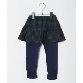 ミキハウスホットビスケッツ スカート付きパンツ(80~110cm) レディース 紺×グリーン 110 【MIKI HOUSE HOT BISCUITS】