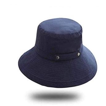 UVカット 帽子 レディース uv帽 小顔効果 熱中症予防 日よけ ハット 取り外すあご紐 スナップ収納 折りたたみ つば広 調節テープ 吸汗通気 紫外線対策 おしゃれ 高級感 (ネイビー)