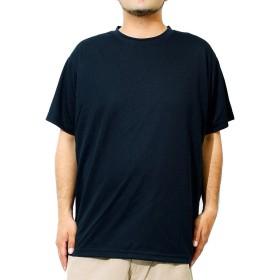 Tシャツ メンズ 大きいサイズ 半袖 吸汗速乾 ファイバードライ UVカット 無地 クルーネック カットソー 5XL ネイビー