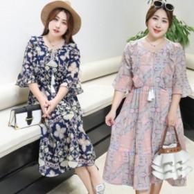 夏 韓国ファッション 大きいサイズ レディース シフォンワンピース 膝丈 着痩せ 体型カバー お呼ばれワンピース ロング 半袖