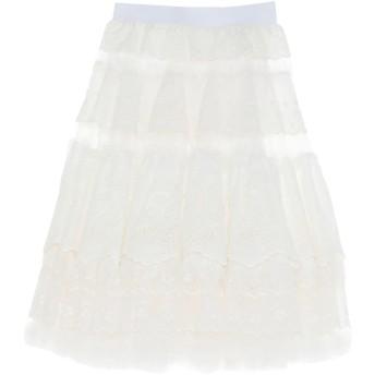 《セール開催中》DOLCE & GABBANA レディース ひざ丈スカート ホワイト 36 ナイロン 50% / コットン 45% / ポリウレタン 5%