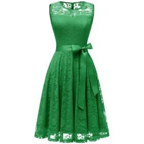 ドレッシースター レディース フレアーレースワンピース 結婚式 ドレス ひざ丈 ノースリーブ リボン付け お呼ばれ 二次会 グリーン Mサイズ