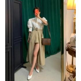 韓国 ファッション レディース スカート パンツ ロング アシンメトリー ハイウエスト スリット ベルト付き 大人可愛い セクシー