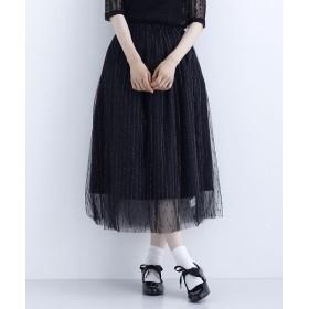 メルロー ラメ刺繍チュールロングスカート レディース ブラック FREE 【merlot】
